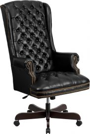 High Back Traditional Fully Tufted Black Leather Executive Swivel Ergonomic Office Chair with Arms
