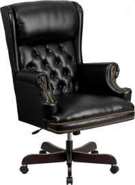 High Back Traditional Tufted Black Leather Executive Ergonomic Office Chair with Oversized Headrest & Nail Trim Arms