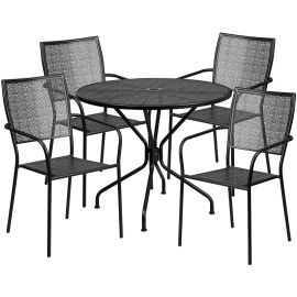 35.25'' Round Black Indoor-Outdoor Steel Patio Table Set with 4 Square Back Chairs