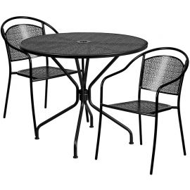 35.25'' Round Black Indoor-Outdoor Steel Patio Table Set with 2 Round Back Chairs