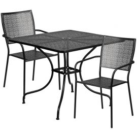 35.5'' Square Black Indoor-Outdoor Steel Patio Table Set with 2 Square Back Chairs