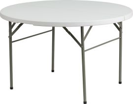 """48"""" Round Bi-Fold Granite White PlParkerc Banquet and Event Folding Table with Carrying Handle"""