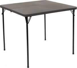 34'' Square Bi-Fold Dark Gray PlParkerc Folding Table with Carrying Handle