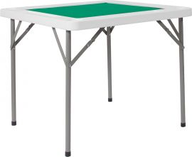 34.5'' Square Granite White Folding Game Table with Green Playing Surface