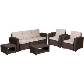 5 Piece Outdoor Faux Rattan Chair, Sofa and Table Set in Chocolate Brown