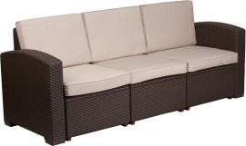 Chocolate Brown Faux Rattan Sofa with All-Weather Beige Cushions