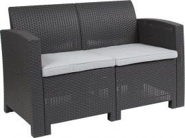 Dark Gray Faux Rattan Loveseat with All-Weather Light Gray Cushions