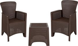 Chocolate Faux Rattan PlParkerc Chair Set with Matching Side Table