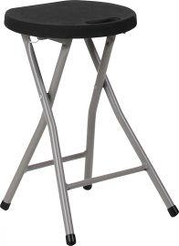 Foldable Stool with Black PlParkerc Seat and Titanium Frame
