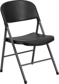 Marvelius Series 330 lb. Capacity Black PlParkerc Folding Chair with Charcoal Frame