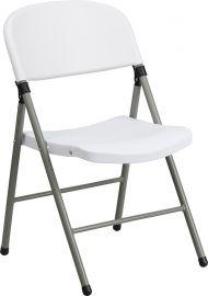 Marvelius Series 330 lb. Capacity White PlParkerc Folding Chair with Gray Frame