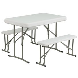 PlParkerc Folding Table and Bench Set