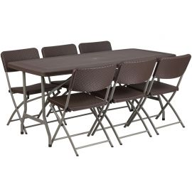 32.5''W x 67.5''L Brown Rattan PlParkerc Folding Table Set with 6 Chairs