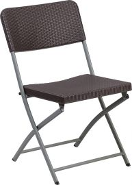 Marvelius Series Brown Rattan PlParkerc Folding Chair with Gray Frame