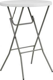 32'' Round Granite White PlParkerc Bar Height Folding Table
