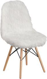 Shaggy Dog White Accent Chair