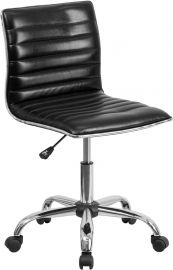 Low Back Designer Armless Black Ribbed Swivel Task Office Chair