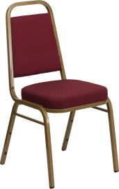 Marvelius Series Trapezoidal Back Stacking Banquet Chair in Burgundy Patterned Fabric - Gold Frame