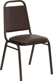 Marvelius Series Trapezoidal Back Stacking Banquet Chair in Brown Vinyl - Copper Vein Frame