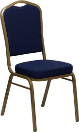 Marvelius Series Crown Back Stacking Banquet Chair in Navy Blue Patterned Fabric - Gold Frame