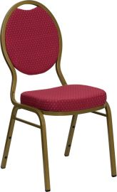 Marvelius Series Teardrop Back Stacking Banquet Chair in Burgundy Patterned Fabric - Gold Frame