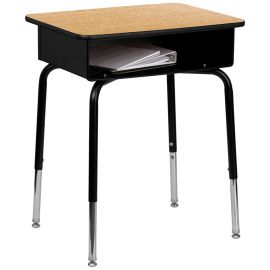 Student Desk with Open Front Metal Book Box
