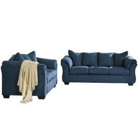Signature Design by Ashley Mercer Living Room Set in Blue Microfiber