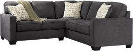 Signature Design by Ashley Alenna 2-Piece Sofa Sectional in Charcoal Microfiber