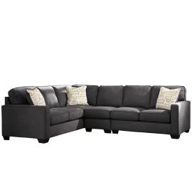 Signature Design by Ashley Alenna 3-Piece Left Side Facing Sofa Sectional in Charcoal Microfiber