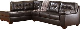 Signature Design by Ashley Alastair with Left Side Facing Chaise Sectional in Chocolate DuraBlend