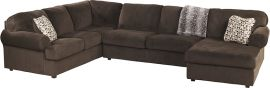 Signature Design by Ashley Locus 3-Piece Left Side Facing Sofa Sectional in Chocolate Fabric