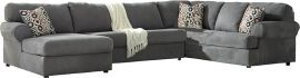Signature Design by Ashley Jasper 3-Piece Right Side Facing Sofa Sectional in Steel Fabric