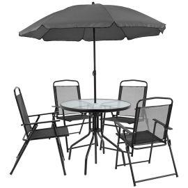 Nova 6 Piece Black Patio Garden Set with Table, Umbrella and 4 Folding Chairs