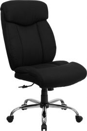Marvelius Series Big & Tall 400 lb. Rated Black Fabric Executive Ergonomic Office Chair and Chrome Base