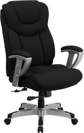Marvelius Series Big & Tall 400 lb. Rated Black Fabric Executive Ergonomic Office Chair with Silver Adjustable Arms