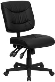Mid-Back Black Leather Multifunction Swivel Ergonomic Task Office Chair
