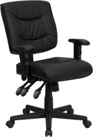 Mid-Back Black Leather Multifunction Swivel Ergonomic Task Office Chair with Adjustable Arms