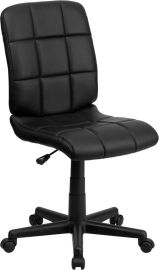 Mid-Back Black Quilted Vinyl Swivel Task Office Chair
