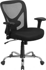 Marvelius Series Big & Tall 400 lb. Rated Black Mesh Swivel Ergonomic Task Office Chair with Height Adjustable Back and