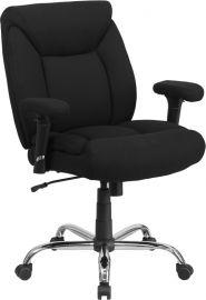 Marvelius Series Big & Tall 400 lb. Rated Black Fabric Deep Tufted Swivel Ergonomic Task Office Chair with Adjustable Ar