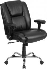 Marvelius Series Big & Tall 400 lb. Rated Black Leather Ergonomic Task Office Chair with Chrome Base and Adjustable Arms
