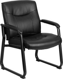 Marvelius Series Big & Tall 500 lb. Rated Black Leather Executive Side Reception Chair with Sled Base