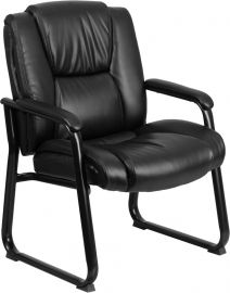 Marvelius Series Big & Tall 500 lb. Rated Black Leather Tufted Executive Side Reception Chair with Sled Base