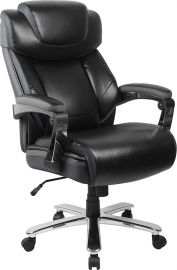 Marvelius Series Big & Tall 500 lb. Rated Black Leather Executive Swivel Ergonomic Office Chair with Adjustable Headrest