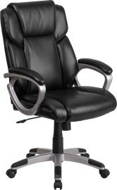 Mid-Back Black Leather Executive Swivel Office Chair with Padded Arms