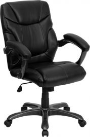 Mid-Back Black Leather Overstuffed Swivel Task Ergonomic Office Chair with Arms