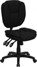 Mid-Back Black Fabric Multifunction Swivel Ergonomic Task Office Chair with Pillow Top Cushioning
