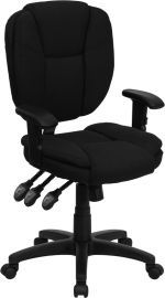 Mid-Back Black Fabric Multifunction Swivel Ergonomic Task Office Chair with Pillow Top Cushioning and Arms
