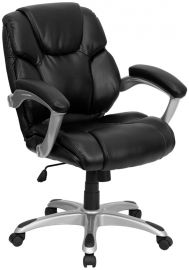 Mid-Back Black Leather Layered Upholstered Executive Swivel Ergonomic Office Chair with Silver Nylon Base and Arms