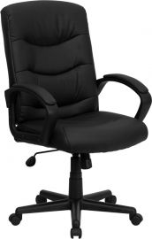 Mid-Back Black Leather Executive Swivel Office Chair with Three Line Horizontal Stitch Back and Arms